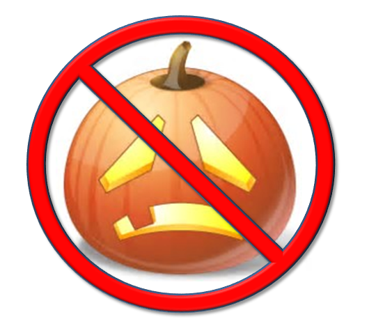 "Sad jackolantern with the slash symbol over it says ""No Halloween"""