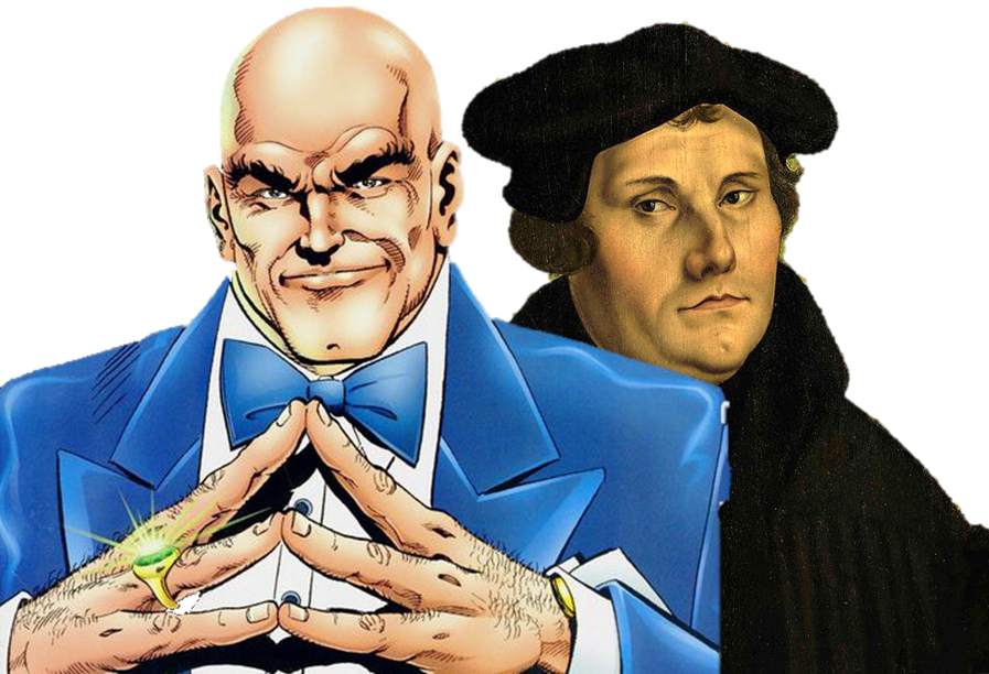 Comic book villan Lex Luthor grinning diabolically. Martin Luther standing behind Lex and staring at him.