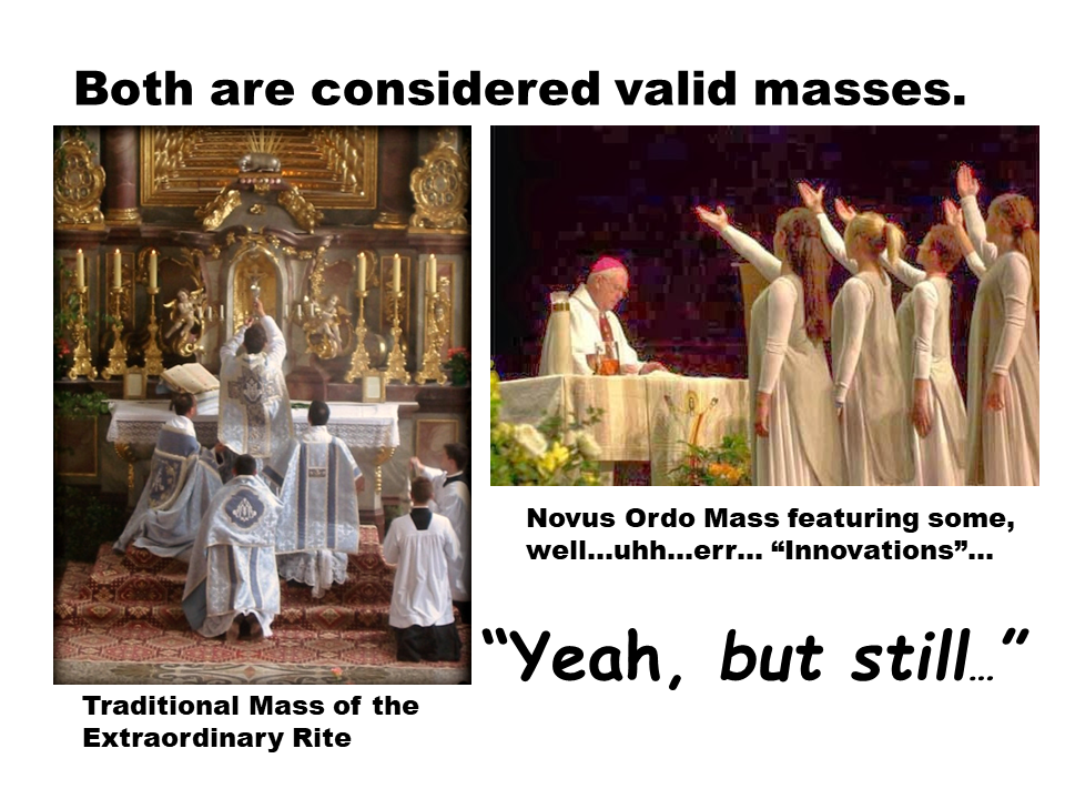 Two pictures. The left is of a priest at a traditional Latin Mass facing the altar and elevating the Chalice. The picture on the right is of a Novus Ordo Mass with the priest facing forward while four young women perform a liturgical dance.