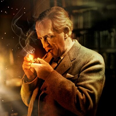 Painting of the author J. R. R. Tolkien lighting his pipe.