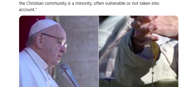 Catholic News Service tweet featuring picture and quote from Pope Francis.