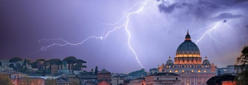 Thunderstorm with lightning striking in and around Vatican.