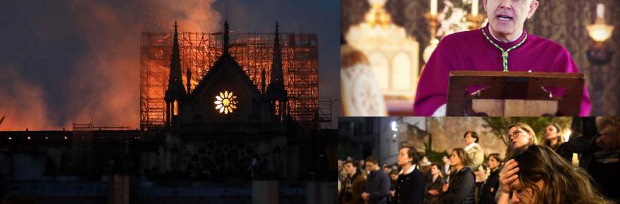Image of Notre Dame Cathedral burning, crowds praying, and Bishop Athanasius Schneider