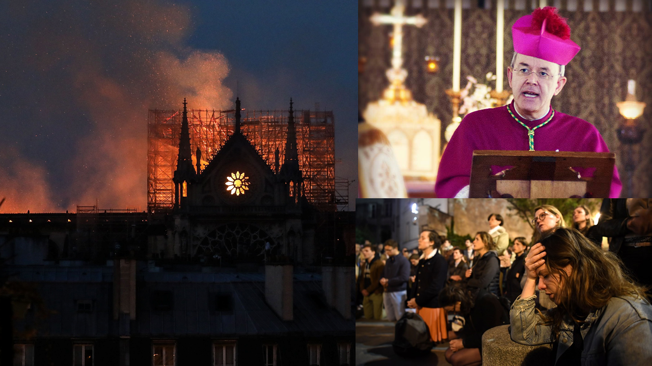 Image of Notre Dame Cathedral burning, crowds praying, and Bishop Athanasius Schneider